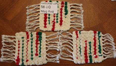 Misc #M-10. Mug Rug Set (3). Main colors: White w/Red & Green